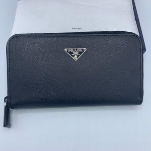 Prada Saffiano Triangle Logo Long Zip Wallet Black
